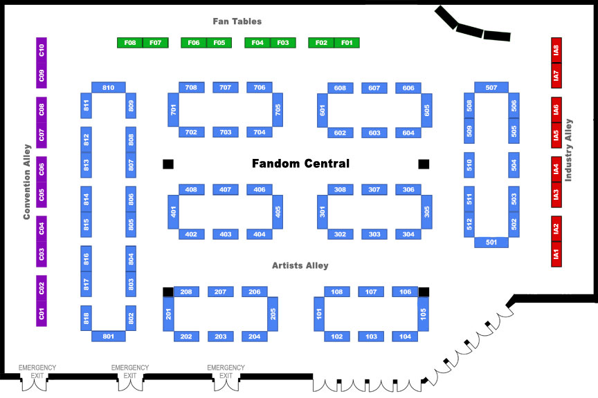 Artists Alley 2015 Map